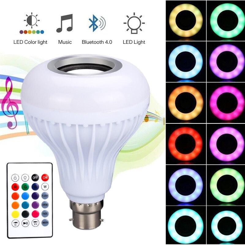 Yeahmart B22 LED Light Bulb Bluetooth Wireless Globe Color Change Light Bulb 12W RGB Music Audio Speaker + Remote Control