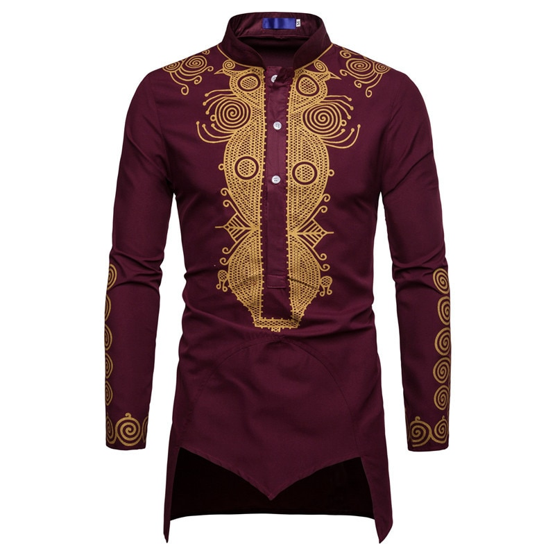 Muslim Men Shirt Islamic Clothes Print Stand Color Tops Kurta National Printed Long Sleeve Shirts Male Folk Hip Hop Streetwear