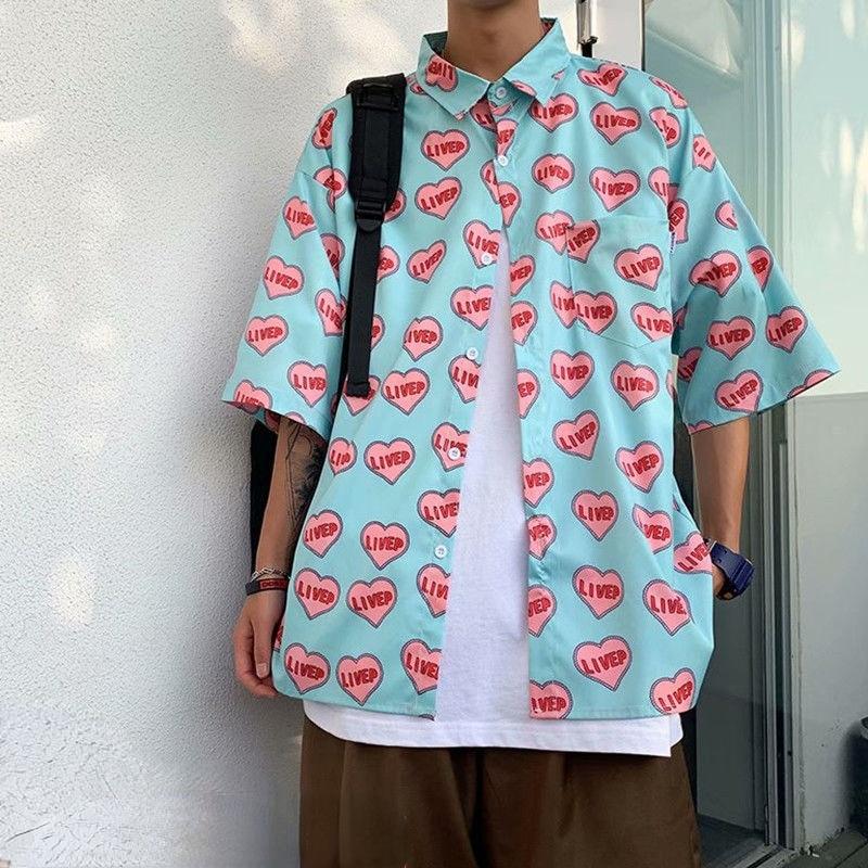 Summer New Couple Loving Heart Printed Shirt Men's Short Sleeve Shirt Casual Loose Male Korean Fashion Clothing Trends Blouse