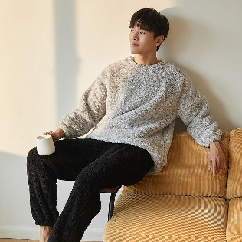 Зима фланель одежда для сна плюс размер мужчины пижамы коралл флис утолщение повседневная одежда домашняя одежда тепло мальчик пижама сон гостиная пижама комплект XXXL