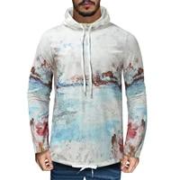 mens autumn fashion printed long sleeve hooded tether sweatshirt top
