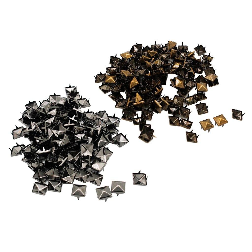 Conjuntos de 100, remache de Metal cuadrado de pirámide, tachuelas para mochilas para zapatos y ropas, cinturón, sombrero de mochila, chaqueta vaquera, decoración, 10mm