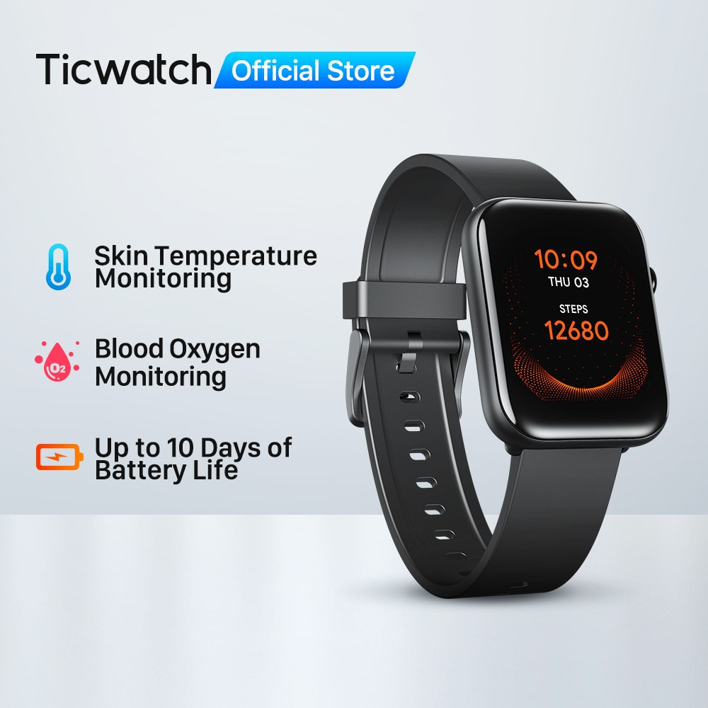 Ticwatch GTH Fitness Smartwatch Men/Women Monitor Skin Temperature Oxygen Sleep Tracking Waterproof