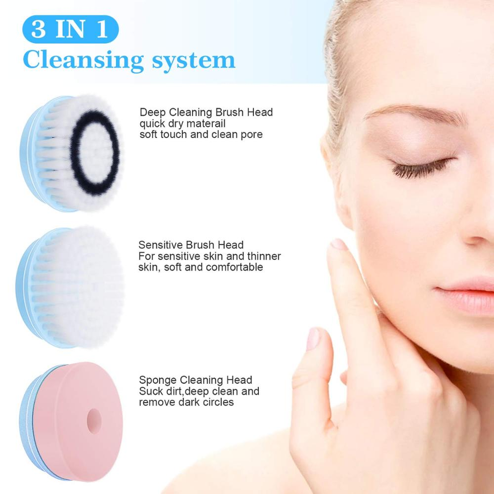 Professional Facial Deep Cleansing Brush 3 In 1 Electric Brushes Cleanser Rechargeable Face Massager Facial Skin Care Machine