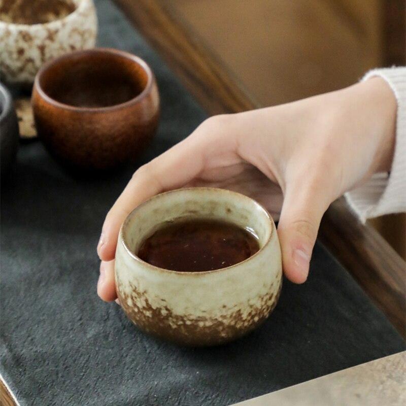 الخشنة الفخار فنجان شاي النمط الصيني المنزلية الكونغ فو خمسة أكواب فرن تغيير الصقيل درينكوير مجموعة