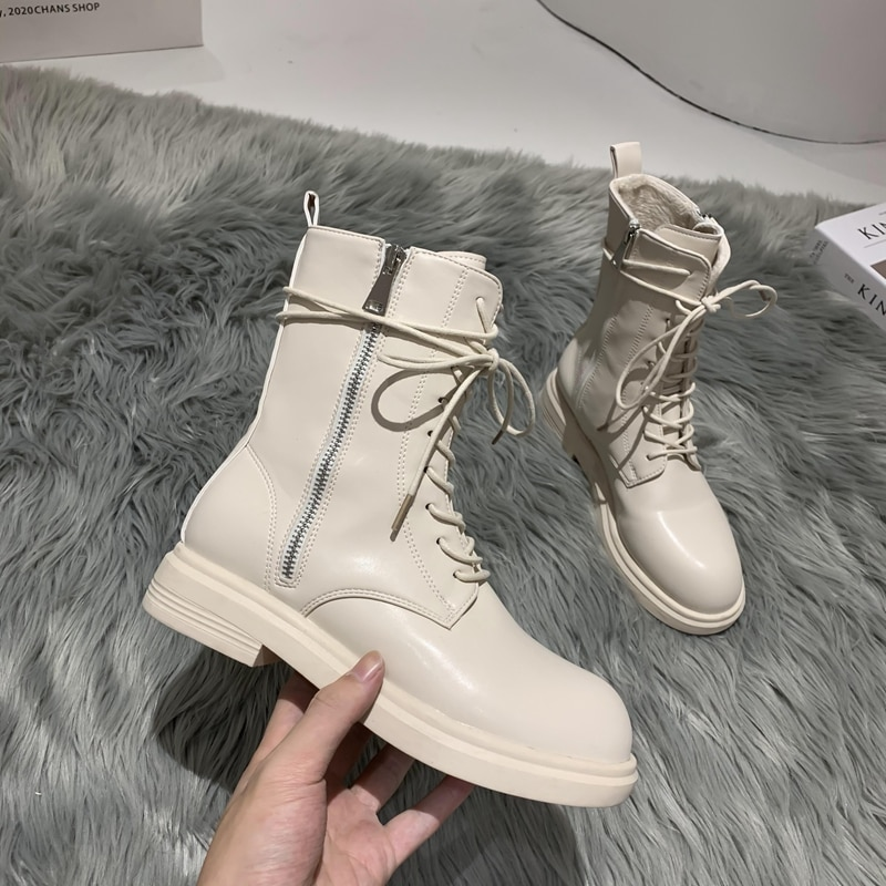 Leather Ankle Boots Women Boots Chelsea Plush Lining Warm Soft Sole Ladies Round Chunky Lace-up Wint