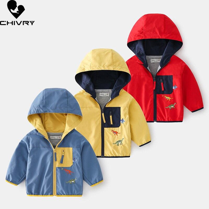Куртка детская демисезонная на молнии с капюшоном и принтом динозавра