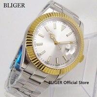40mm No Logo Sapphire Glass Men's Watch White Dial Gold Bezel Date Magnifier Automatic Movement Wristwatch