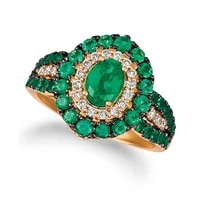 fashion female ring simple luxury oval inlaid green white gemstone gold ring for women wedding jewelry factory direct sales