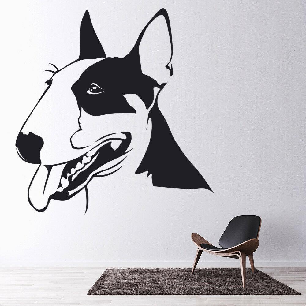 Calcomanía de animal para pared Bull Terrier perro mascotas tienda sala de estar casa decoración vinilo ventana pegatinas lindo mural de mascota extraíble M815