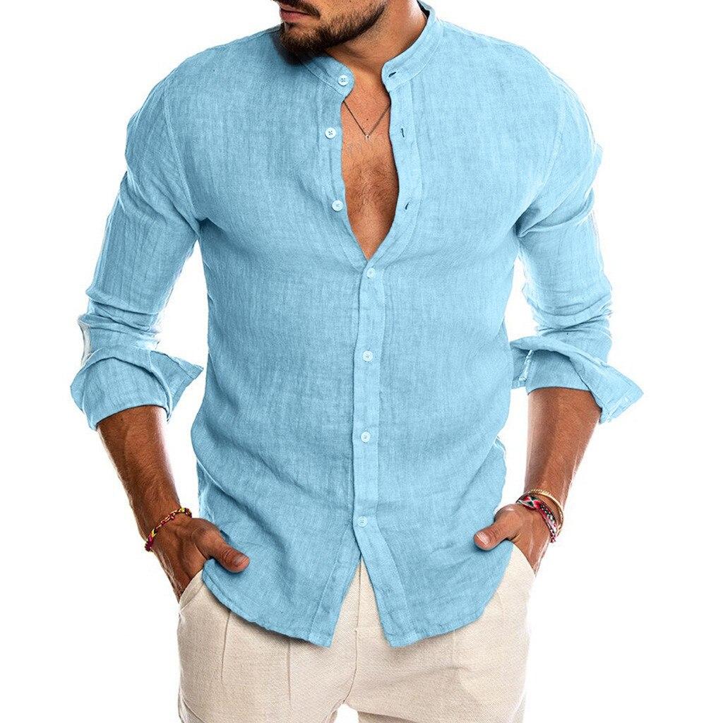 Camisa casual de lino y manga corta para hombre de camiseta de...