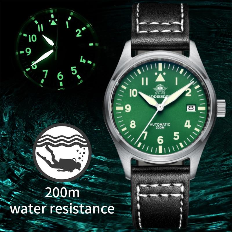 Addie الغوص ساعة رجالي الفولاذ المقاوم للصدأ C3 مضيئة ar المغلفة الياقوت الكريستال 200 متر مقاوم للماء التلقائي ساعة ميكانيكية الغوص