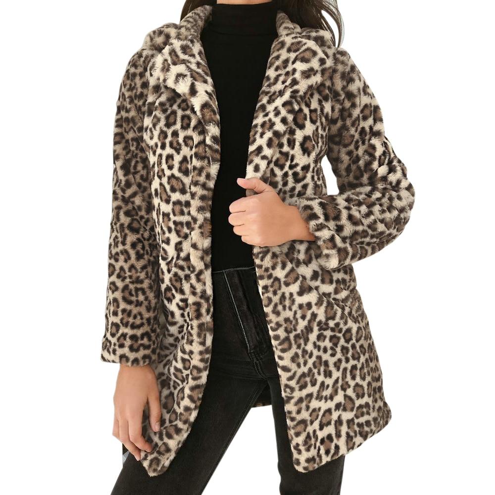Nuevo abrigo de franela suave con estampado de leopardo a la moda para mujer 2019 abrigo