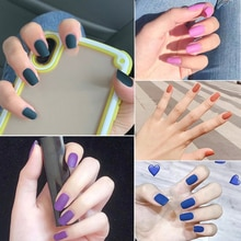 Nusx Matte Pure Color False Nails Popular Designs Flat Long Tip Patch Artificial Nail Chip Extensions Nail Art Decoration  FA006