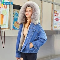 yiciya 2021 plush denim jacket womens casua large wool collar multicolor thickened cotton jacket y2k womens jeans met top jean