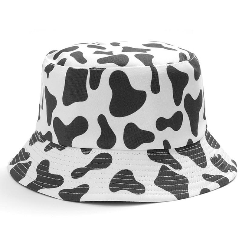 INS bonitos sombreros de pescador reversibles con estampado de vaca en blanco y negro, sombrero de pesca de verano para hombre y mujer, gorro de pescador de dos lados, sombrero de viaje para Panamá