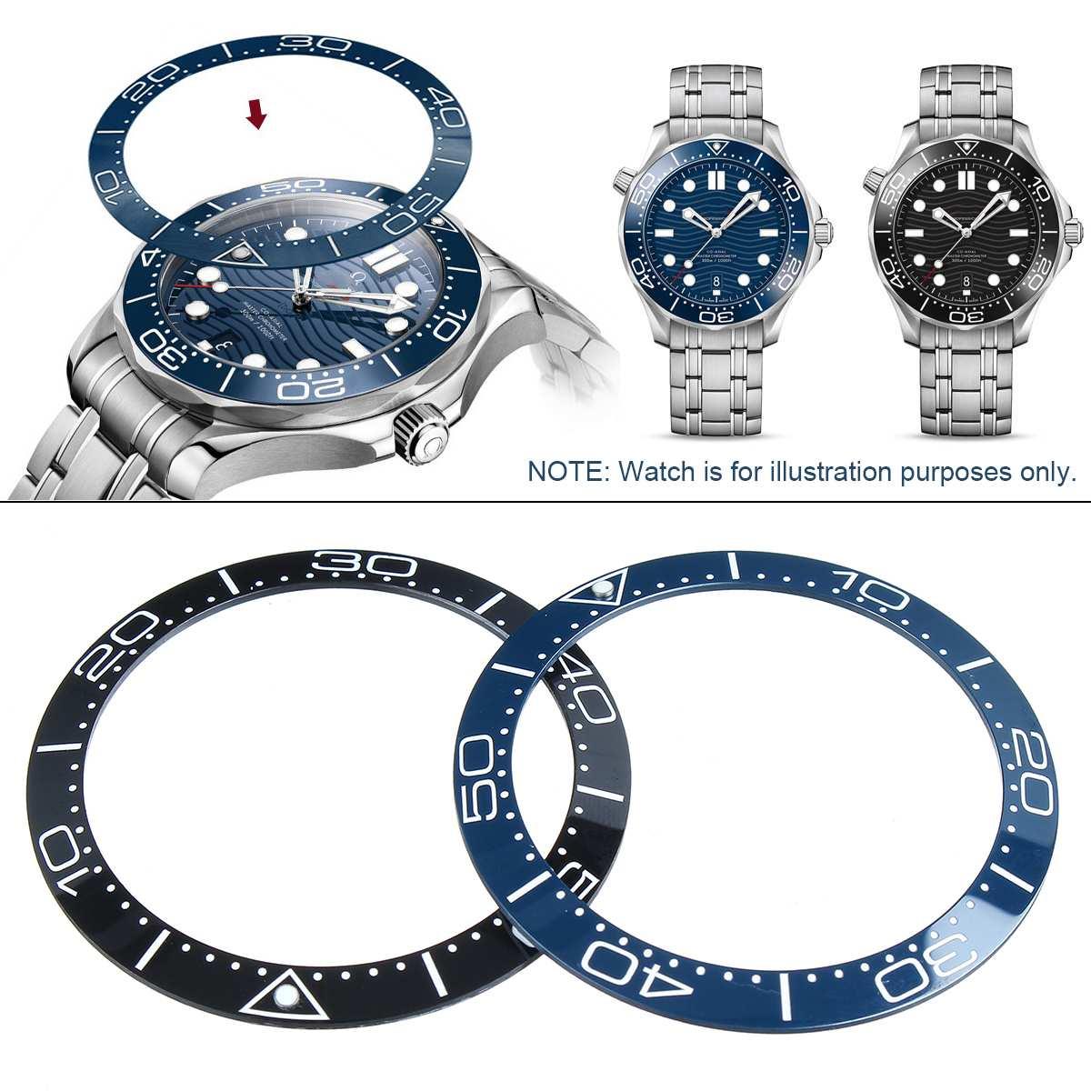 Universal 38mm relógio capa cerâmica moldura inserir acessórios para sei ko skx007/009 relógios/para rolex/para omega