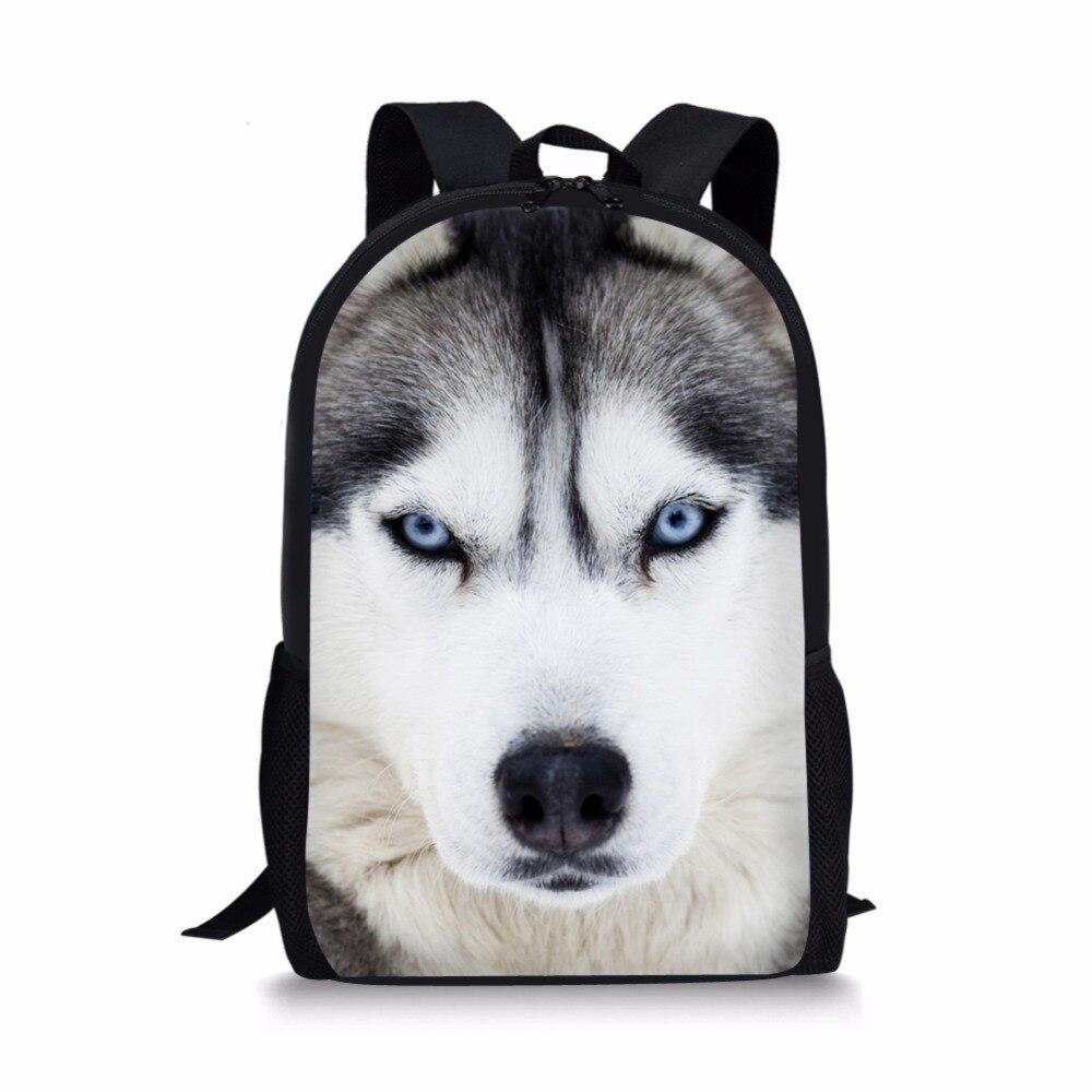 pug dog husky printing backpack for children girls 16-inch Popular Wolf Backpack Animal Printing Backpack For Kids Husky Bags For Girls Boys Children School Bag