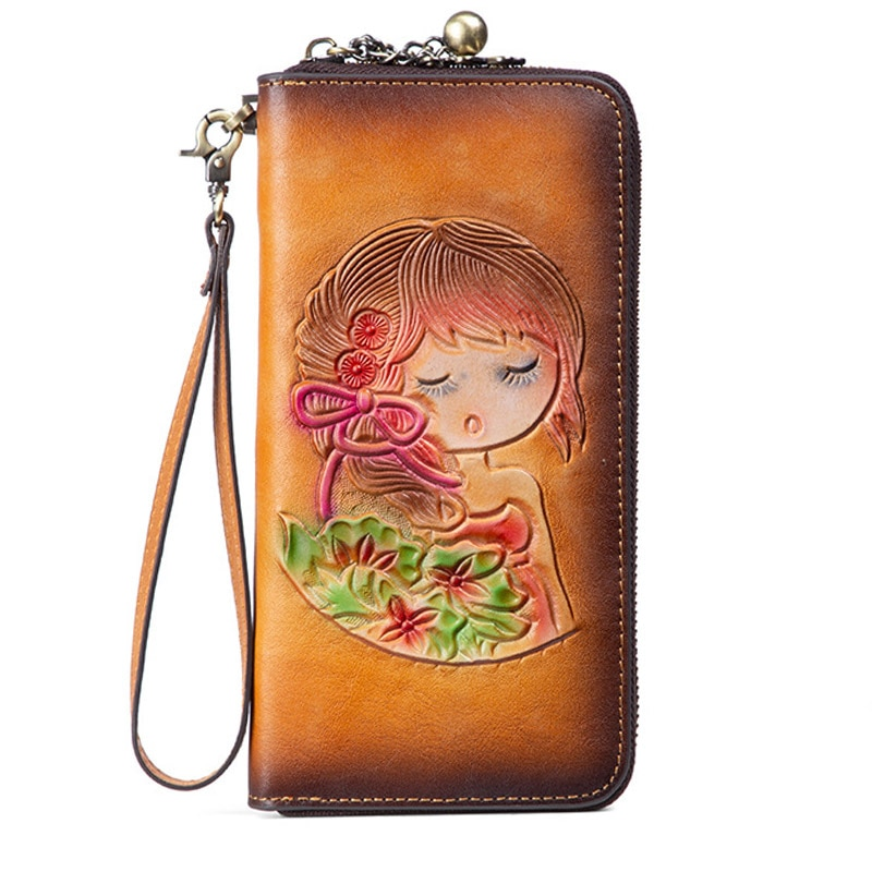 Fashion Real Genuine Leather Wallet for Women Long Clutches Female Leather Purse for Coin High Quali