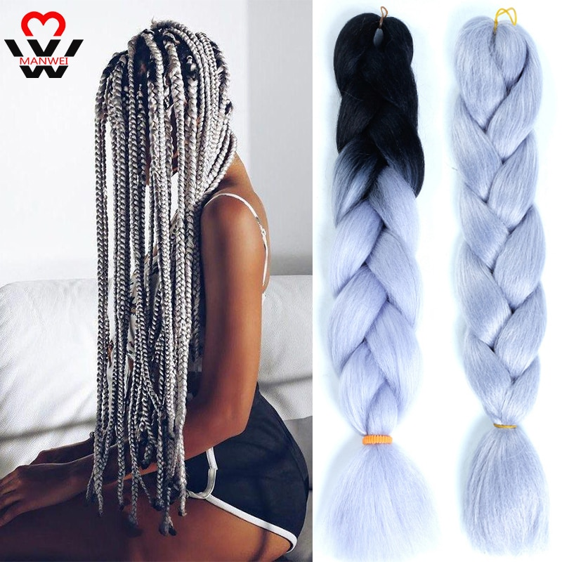 MANWEI 24Inch 100g Jumbo Braids Synthetic Crochet Hair Extensions Ombre Braiding Pink Gray Color braids