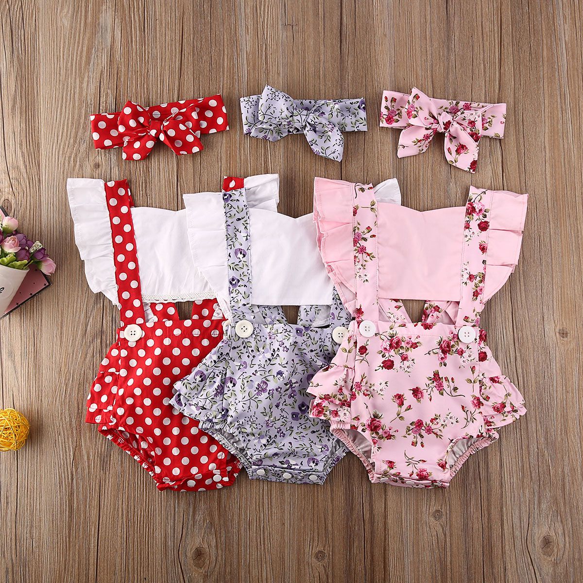 Goocheer 0-24M Newborn Baby Summer Clothing Infant Baby Girl Romper Ruffled Hollow Out Jumpsuits Sle