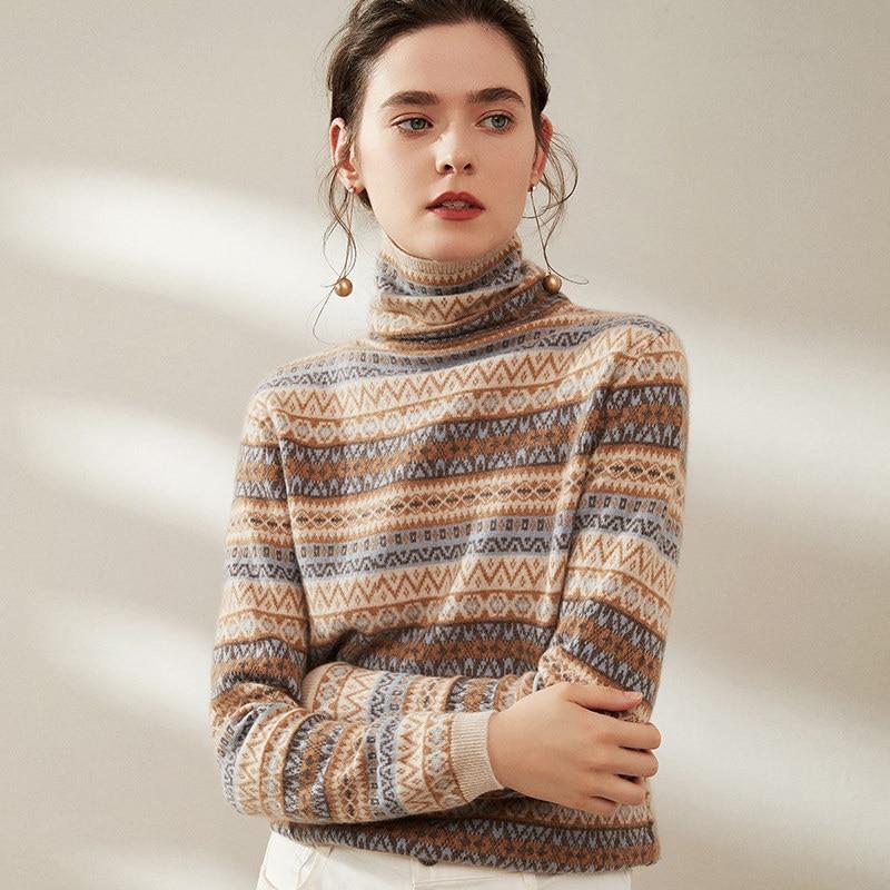Suéter de cachemira para mujer 100% de cachemir de cuello alto ajustado de color de manga larga suéter pullover casual moda suéter abrigo