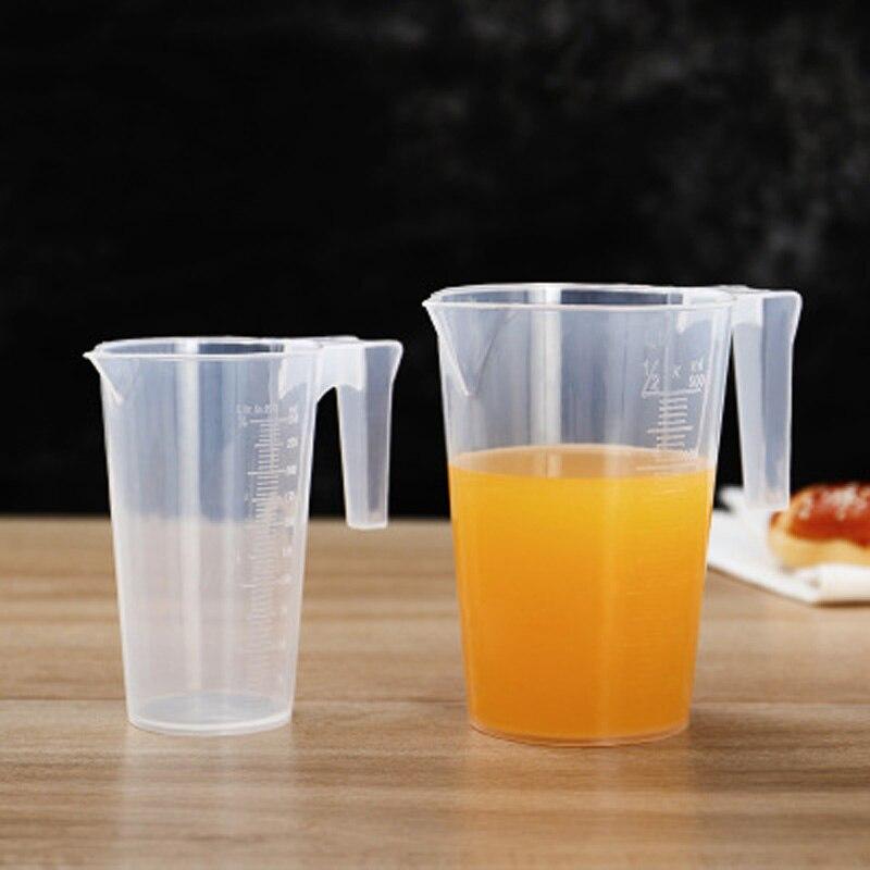Taza de té de la leche graduada de plástico transparente de 250ml/500ml/1000ml, taza de té de la leche para hornear, jarra de medida líquida, recipiente para cocinar a escala