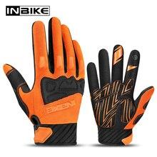 Перчатки INBIKE для горных велосипедов, дышащие мотоциклетные перчатки с закрытыми пальцами для мотокросса, для трюков по бездорожью, для сенсорных экранов