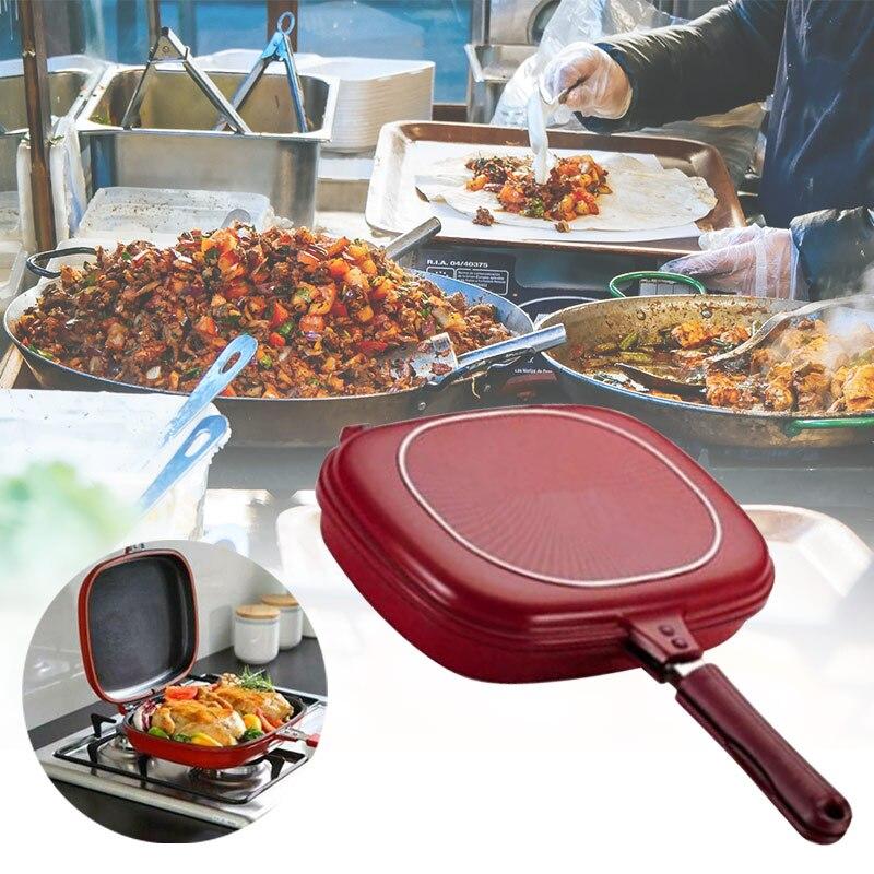 Двухсторонняя сковорода антипригарный противень портативный для домашней кухни GHS99