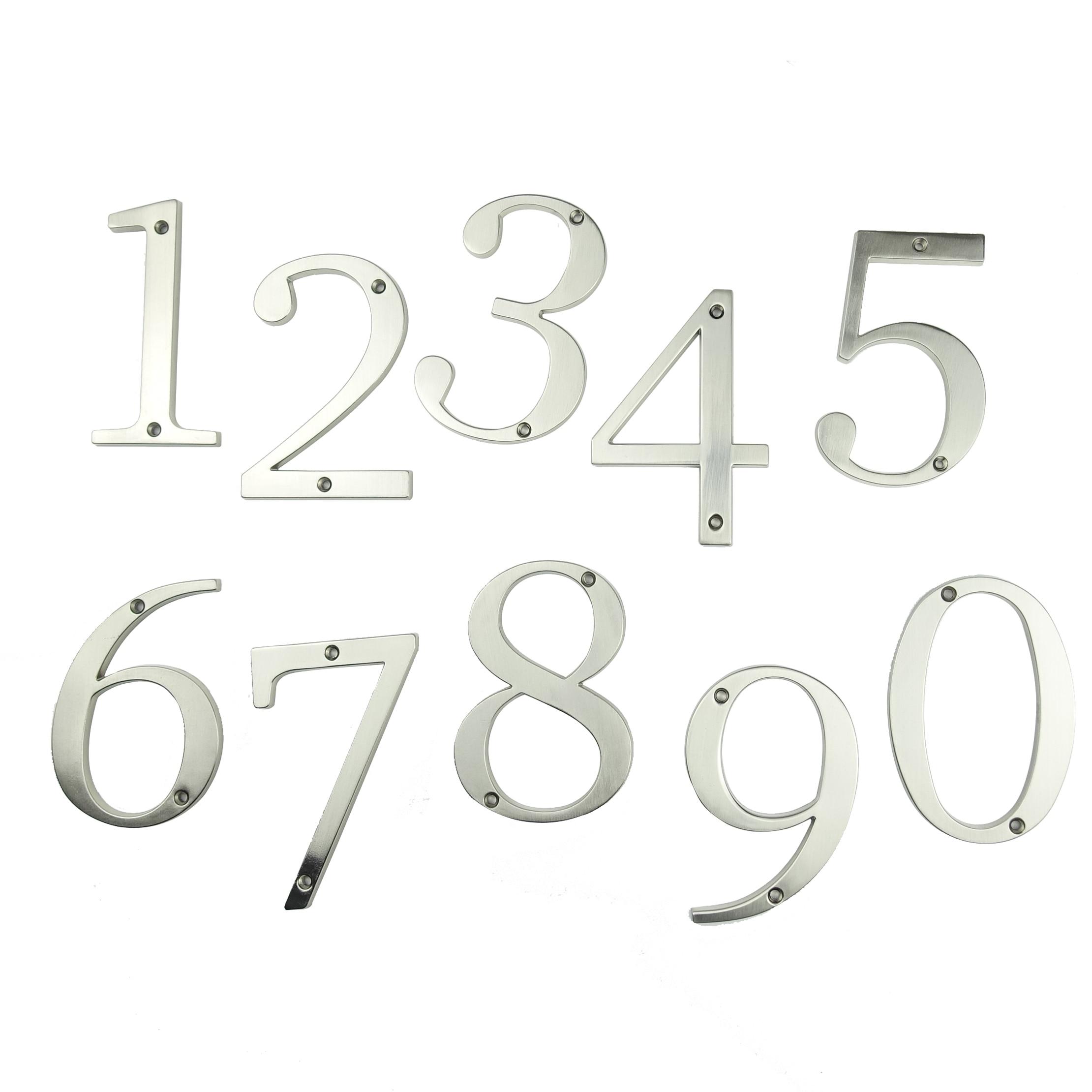 "Купить с кэшбэком Satin Nickel 4"" 101mm Height House Number Door Address Number Digits Zinc Alloy Screw Mounted Big Mailbox Address Sign #0-9"