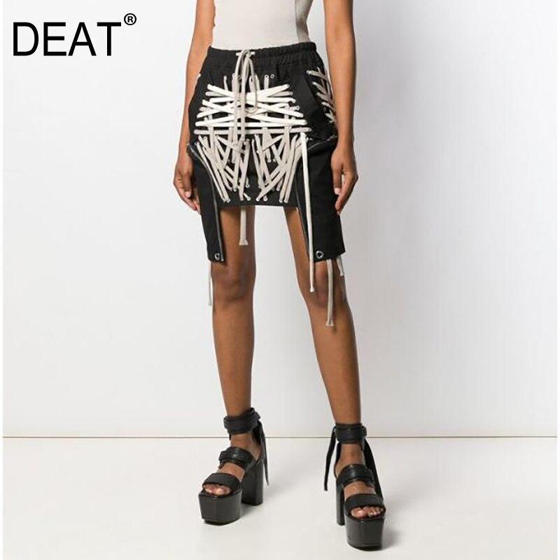 DEAT High Elastic Waist Black Bandage Split Joint Irregular Half-body Skirt Women Fashion Tide New Spring Summer 2020 1W912