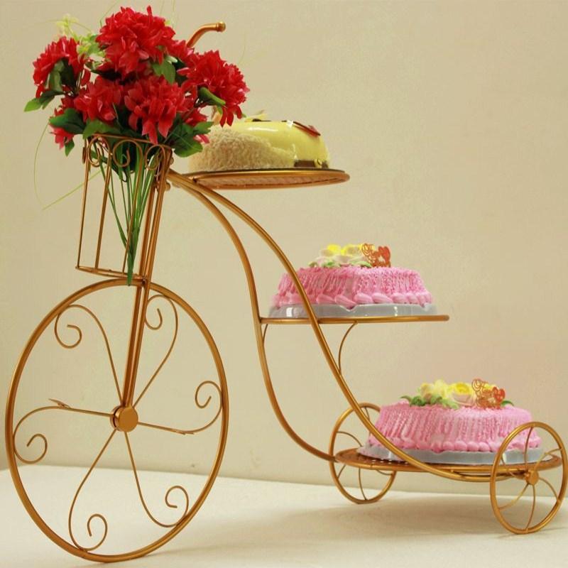 De Navidad decoración de hierro bicicleta conjunto de soporte para pastel de cum de boda de Historia de postre de pastel original