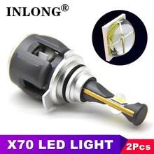 INLONG X70 2Pcs 9006 hb4 LED bombillas de faros H11 H8 h1 H9 h7 h4 led D1S D2S D4S d3s 9012 Led lámpara Auto faro luces antiniebla 6000K