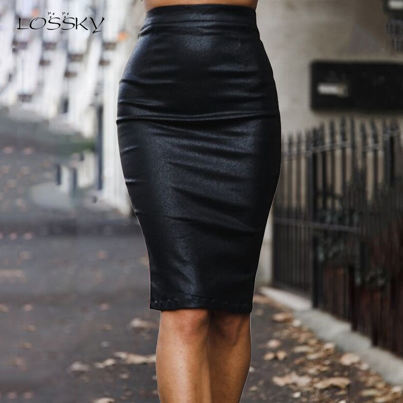 Lossky PU Faux Leather Pencil Skirt Zippers High Waist Women Elastic Back Split Sexy Bodycon Autumn Office Clothes Knees Length