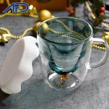 Kreatywna 3D przejrzysta świąteczna kubki 250ml dwuwarstwowa antypoślizgowa świąteczna filiżanka kawy z pokrywką dla dzieci prezent dla dzieci