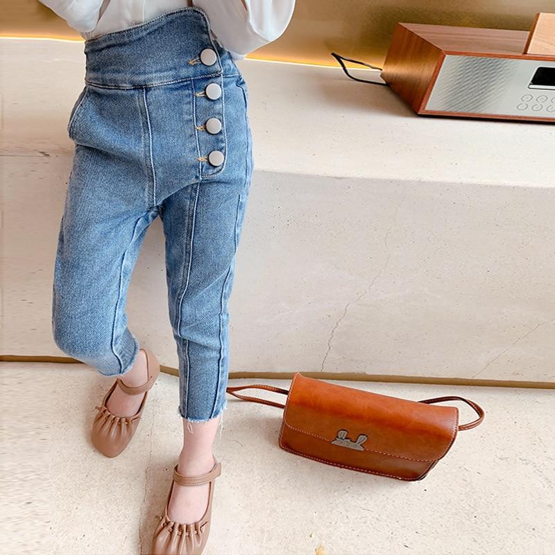 Осень 2020, Новое поступление, модные джинсовые брюки для девочек, детские джинсовые брюки, детские джинсы для девочек Джинсы    АлиЭкспресс