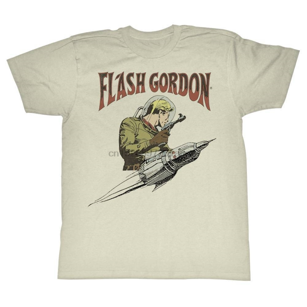 FLASH GORDON Men Short Sleeve T-Shirt NATURAL FLASH ROCKET  Cartoon t shirt men Unisex New Fashion tshirt free shipping top
