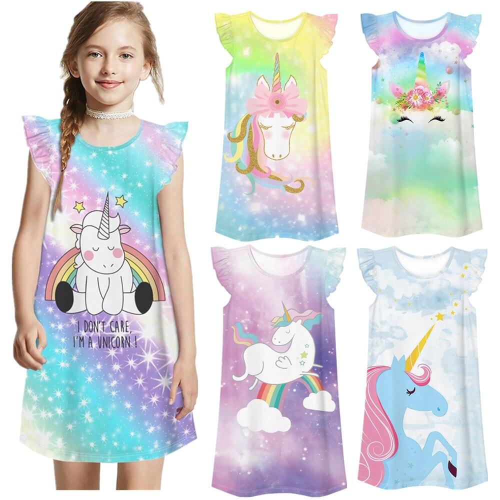 Girls Princess Summer Night Dress Children Home Clothing Pajama Unicorn Baby Cartoon Casual Loose Nightgown Girl Sleepwear Robe