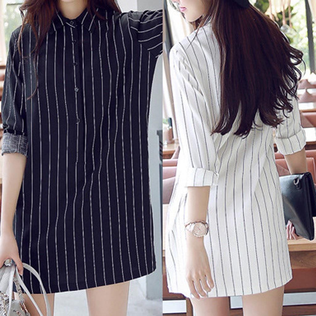 Spring women long-sleeved striped lapel button loose straight one-piece dress женское платье Fashion Shirt Leisure