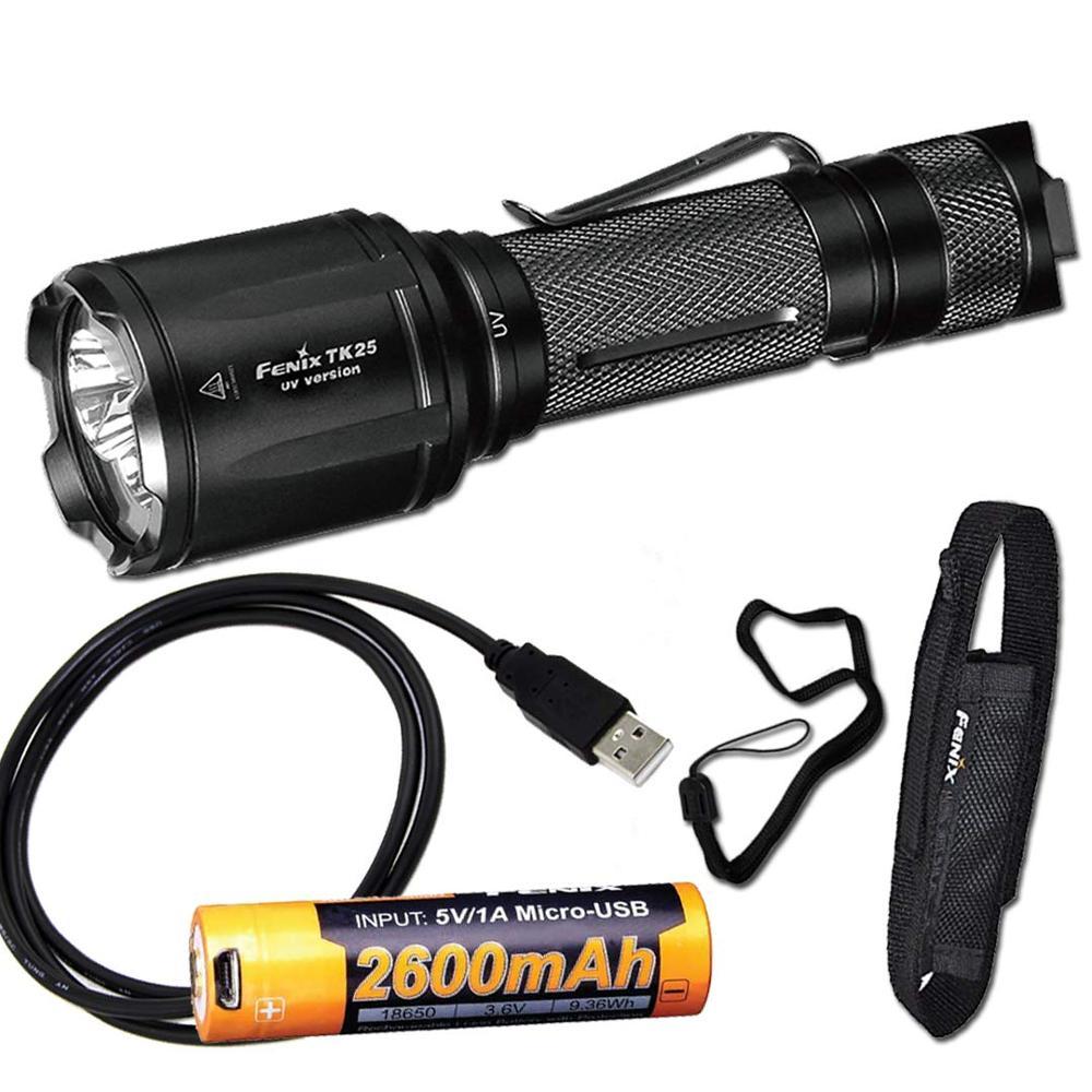 Linterna táctica Fenix TK25UV 1000 Lumen (TK25 UV) y luz UV de 3000mW con batería ARB-L18-2600U