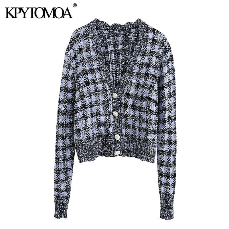 Kpytomoa mulheres 2020 moda gem botões xadrez recortado de malha cardigan camisola do vintage manga longa feminino outerwear chique topos