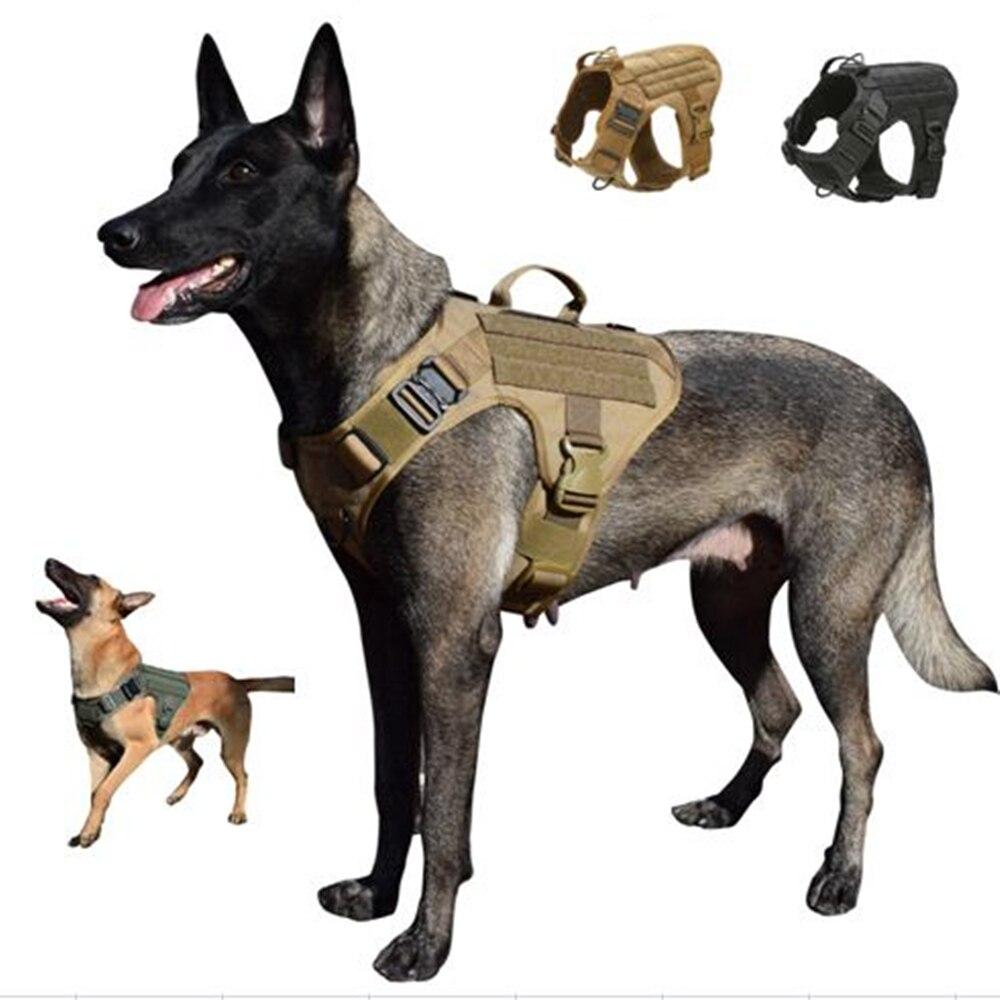 MXSLEUT-حزام الكلب التكتيكي مع 2 مشبك معدني ، سترة MOLLE للكلاب بمقبض ، بدون سحب ، مشبك المقود الأمامي ، حلقة الخطاف الأمامية