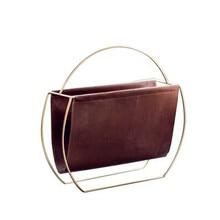 Light luxury Nordic modern metal leather magazine rack home sofa corner storage storage creative handle bookshelf