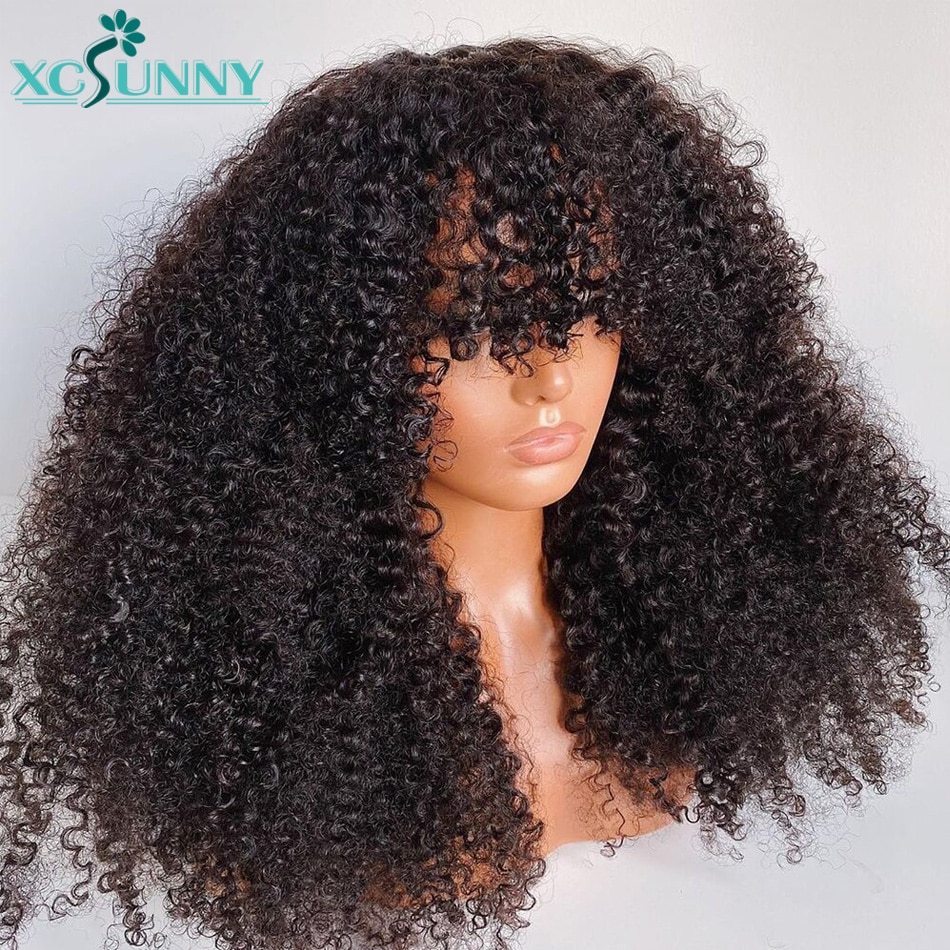 Afro Kinky Curly Human Hair Wigs With Bangs 200 Density 22inch Full Machine Made Human Hair Wig Remy Brazilian Hair Xcsunny