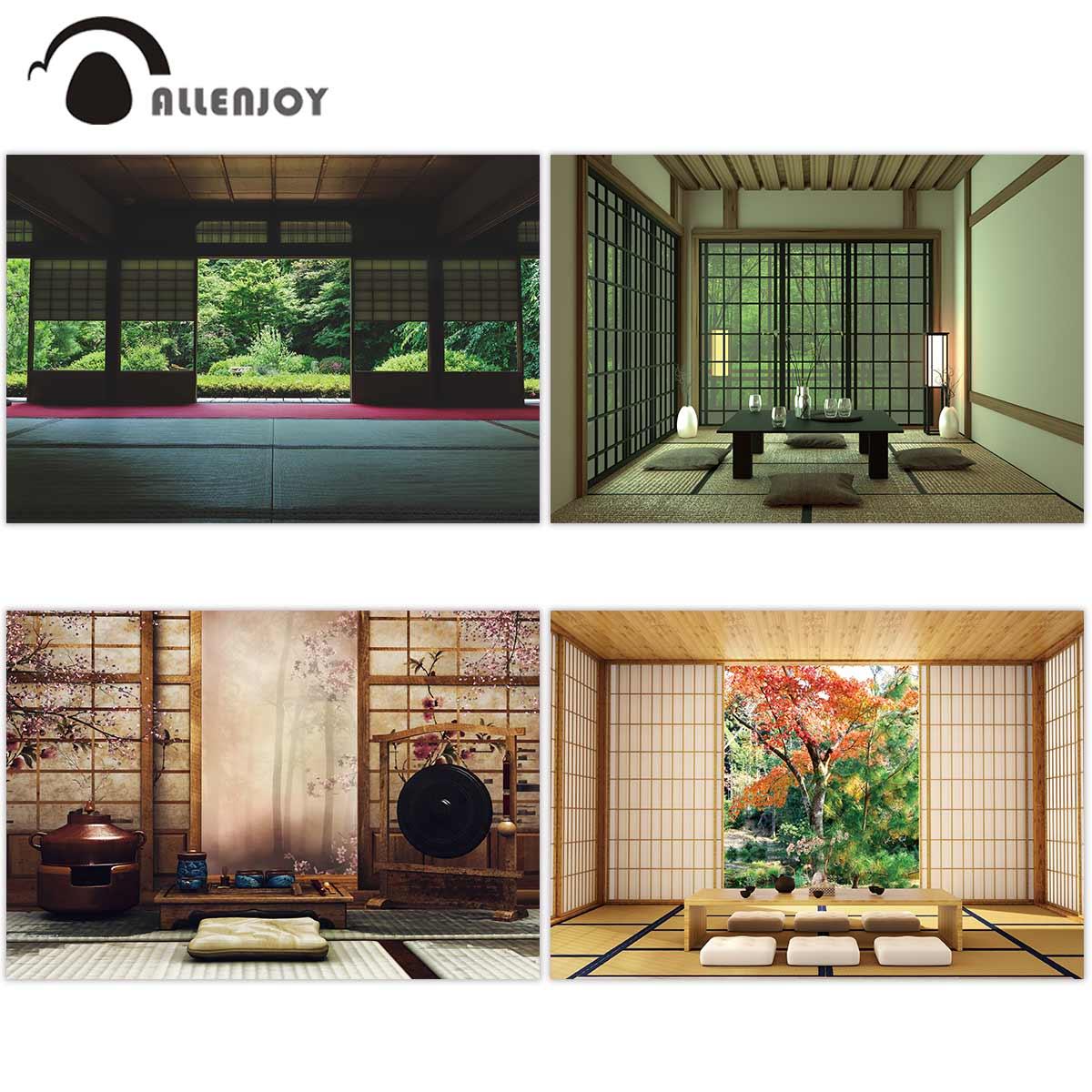 Фон для фотосъемки Allenjoy в японском стиле с изображением пейзажа окна двери комнаты современный стол для гостиной 3d фото студия декор стен