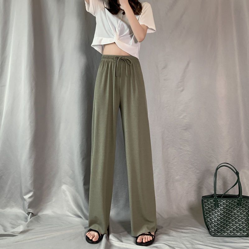 Women High Waisted Wide Leg Pants Ice Silk Pants Summer Straight Trousers Loose Soild Color Mopping Pants Femme Thin Section