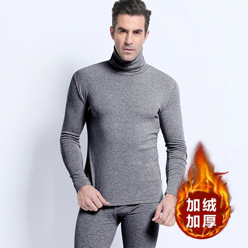 Roupa interior térmica ternos masculino heap febre algodão lado duplo inverno veludo engrossar confortável branco longo johns quente gola alta