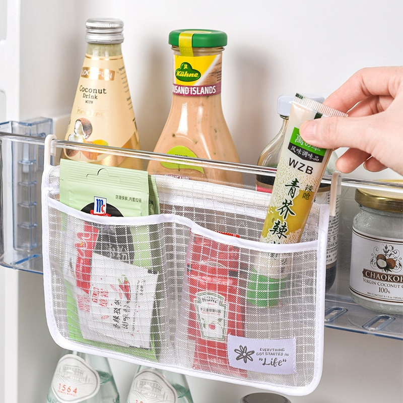 Refrigerator Storage Mesh Bag Hanging Household Classification Storage Bag Double Compartment Refrigerator Storage Hanging Bag