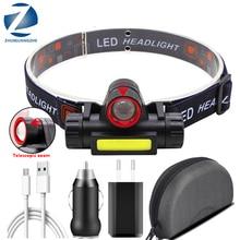Linterna frontal LED con batería integrada para acampada, linterna recargable por USB COB, resistente al agua, lámpara linterna de cabeza