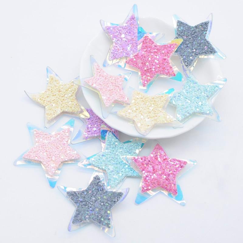 Parches de piel de doble capa de 15 Uds., apliques de estrellas brillantes de poliuretano para ropa DIY, zapatos, sombreros, sombreros, pinzas para el pelo, pegatina decorativa L30